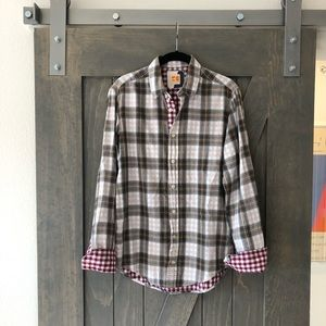 Hugo Boss plaid button down shirt (size S)